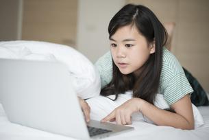 パソコンを見ている女の子の写真素材 [FYI04315939]