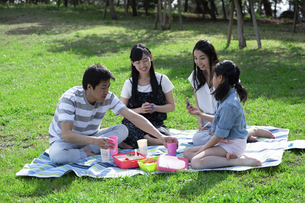 ピクニックをする家族の写真素材 [FYI04317264]