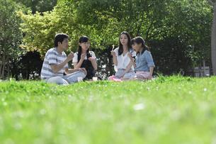 ピクニックをする家族の写真素材 [FYI04317265]