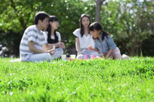 ピクニックをする家族の写真素材 [FYI04317267]