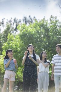 シャボン玉で遊ぶ家族の写真素材 [FYI04317277]