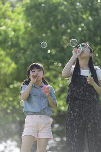 シャボン玉で遊ぶ家族の写真素材 [FYI04317282]