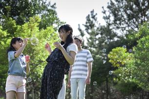 シャボン玉で遊ぶ家族の写真素材 [FYI04317285]