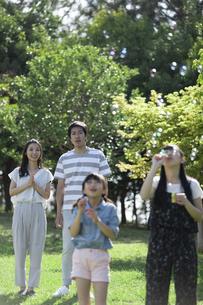 シャボン玉で遊ぶ家族の写真素材 [FYI04317286]