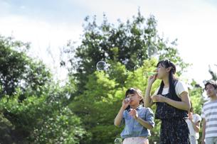 シャボン玉で遊ぶ家族の写真素材 [FYI04317288]