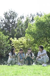 シャボン玉で遊ぶ家族の写真素材 [FYI04317290]