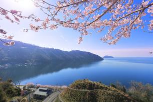 桜咲く奥琵琶湖パークウェイより葛籠尾崎と竹生島を望むの写真素材 [FYI04317899]