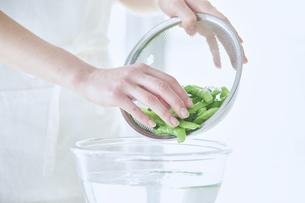 キッチンで料理をする女性の写真素材 [FYI04318058]