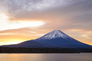 山梨県 本栖湖より朝焼けの下の富士山の写真素材 [FYI04318184]