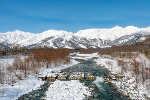 長野県白馬村 雪山と松川の雪景色の写真素材 [FYI04318356]