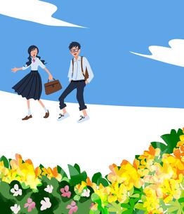 制服を着た女子学生と男子学生のイラスト素材 [FYI04318460]