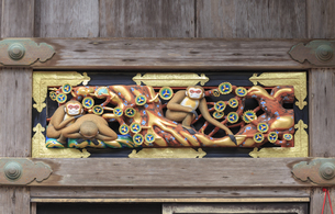 日光東照宮 猿の彫刻の写真素材 [FYI04318473]