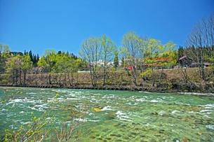 新緑の寒河江川の写真素材 [FYI04318679]