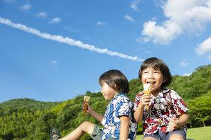 アイスクリームを食べる双子の兄弟の写真素材 [FYI04318734]