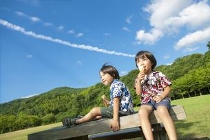 ベンチに座りアイスクリームを食べる双子の兄弟の写真素材 [FYI04318736]