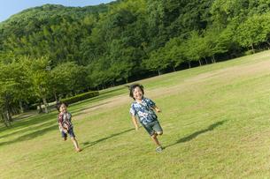 草原を走る双子の兄弟の写真素材 [FYI04318746]