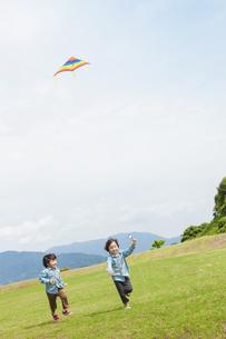 凧揚げをする双子の兄弟の写真素材 [FYI04318775]