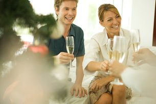 Couple making a toast with champagneの写真素材 [FYI04318905]