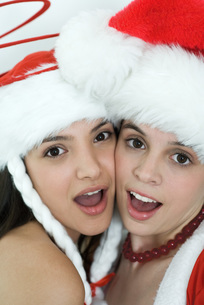 Friends dressed in Christmas costumesの写真素材 [FYI04319339]