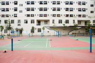 Building complex with fitness courtの写真素材 [FYI04319613]