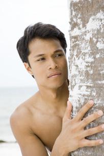 Man looking around tree trunkの写真素材 [FYI04320113]