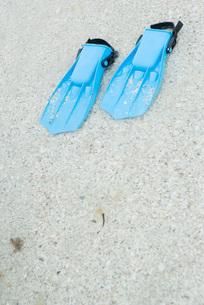 Plastic flippers on sandの写真素材 [FYI04320185]