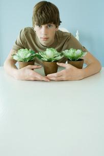Teen boy holding arms around plantsの写真素材 [FYI04320825]