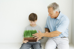 Grandfather and grandson seatedの写真素材 [FYI04320839]