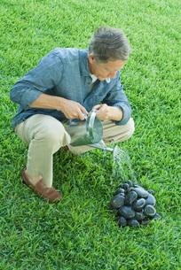 Man watering pile of stonesの写真素材 [FYI04321097]