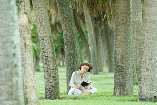 Woman sitting in palm grove reading bookの写真素材 [FYI04321341]