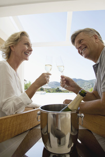 Mature couple toasting with champagneの写真素材 [FYI04321635]