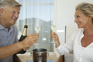 Mature couple toasting with champagneの写真素材 [FYI04321988]