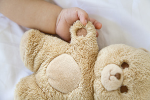 Baby holding hands with teddy bear, croppedの写真素材 [FYI04321998]