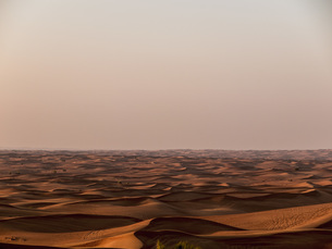 Scenic view of sand dunes in desert against clear sky during sunset, Dubai, United Arab Emiratesの写真素材 [FYI04322791]