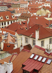 High angle view of buildings in town, Prague, Czech Republicの写真素材 [FYI04322806]