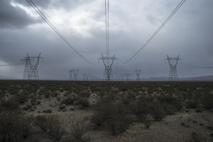 Electricity pylons and plants in field against cloudy skyの写真素材 [FYI04322868]