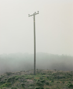 Electricity pylon on hill in foggy weatherの写真素材 [FYI04322902]