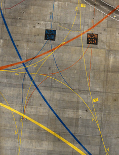 Aerial view of markings at airportの写真素材 [FYI04322910]