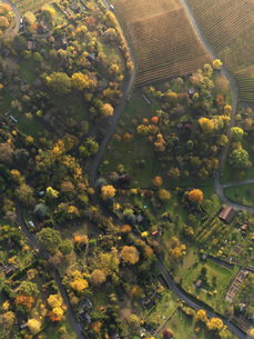 Aerial view of landscape during autumn, Hohenheim, Stuttgart, Baden-Wuerttemberg, Germanyの写真素材 [FYI04322912]