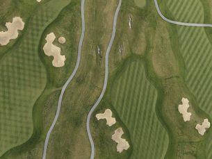 Full frame aerial view of golf course, Stuttgart, Baden-Wuerttemberg, Germanyの写真素材 [FYI04322944]
