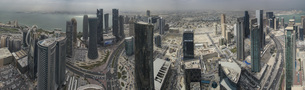 Panoramic view of skyscrapers in city, Doha, Qatarの写真素材 [FYI04322973]