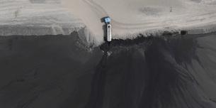 Aerial view of truck at open-pit mine, Dortmund, North Rhine-Westphalia, Germanyの写真素材 [FYI04322982]