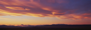 Panoramic view of landscape against orange sky during sunset, Patagonia, Argentinaの写真素材 [FYI04323041]