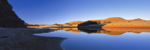 Panoramic view of lake against clear blue sky, Fish River Canyon, Fish River, Namibiaの写真素材 [FYI04323051]