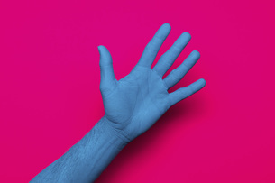 Close-up of blue painted hand against pink backgroundの写真素材 [FYI04323058]