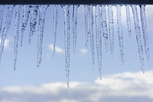 Close-up of icicles on roof edgeの写真素材 [FYI04323140]