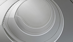 Low angle view of spiral staircaseの写真素材 [FYI04323224]