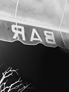 Negative image of text on awning against skyの写真素材 [FYI04323294]