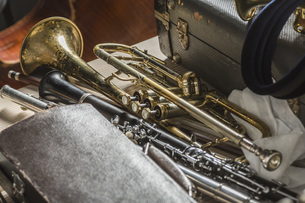 High angle view of musical instruments on floorの写真素材 [FYI04323392]
