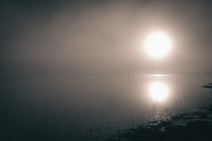 Bright sun over calm lake in foggy weatherの写真素材 [FYI04323445]